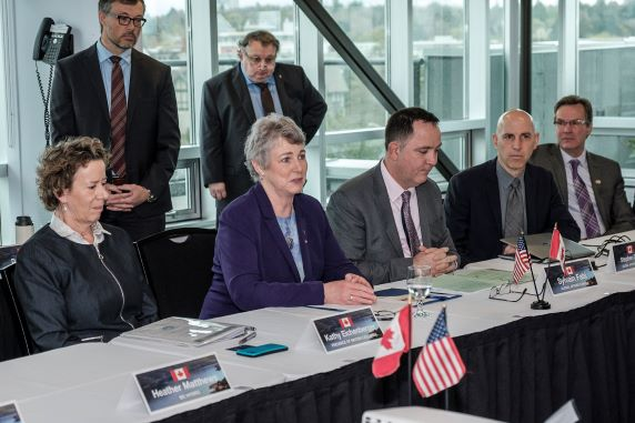 Minister Katrine Conroy welcomes Columbia River Treaty negotiators in Victoria, B.C. Photo by Don Craig.