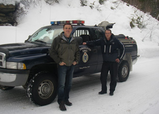 Minister Penner (left) and Conservation Officer Kent Popjes