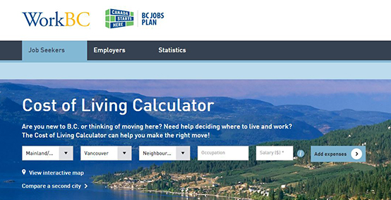 WorkBC's Cost of Living Calculator